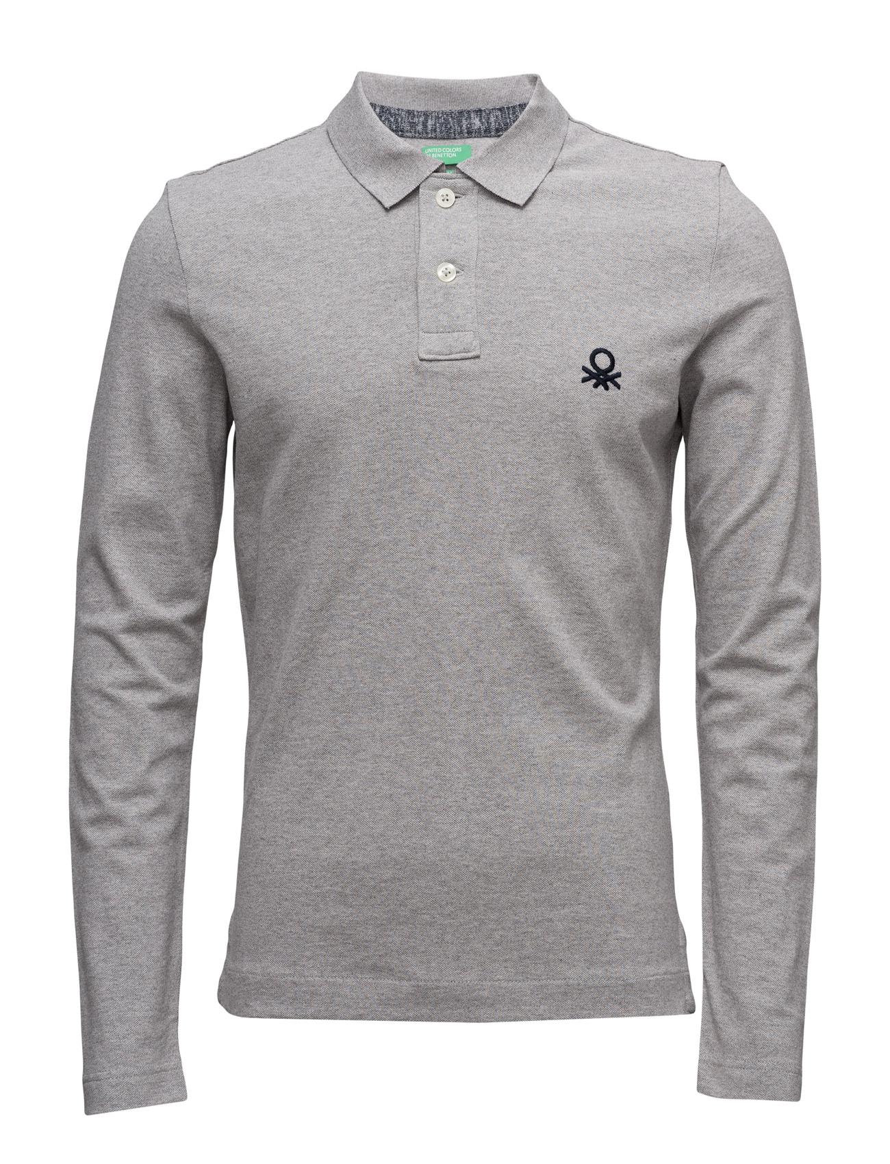 L/S Polo Shirt United Colors of Benetton Længærmede polo t-shirts til Herrer i Grey Melange