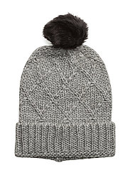 Square knitted hat - LIGHT GREY