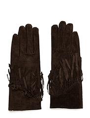 Suede glove w fringes - BROWN