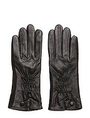 Leather and felt glove - BLACK/BLACK