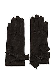 Leathe glove w bow - BLACK