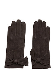 Leathe glove w bow - BROWN