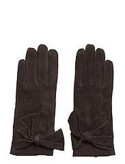 Leathe glove w bow - BROWN