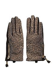 Animal suede glove - BROWN