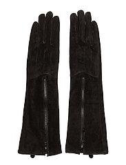 Long zipper glove - BROWN