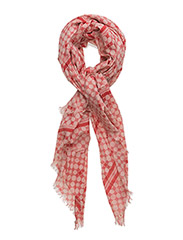 Ornament checkered scarf - RED