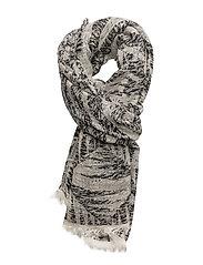 Graphic melange scarf - WHITE