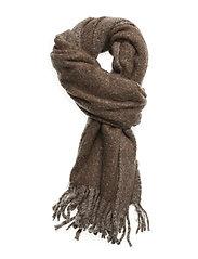 Melange furry scarf - BROWN