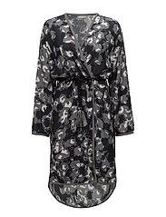 Leopard long kimono - BLACK