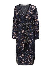 Leopard long kimono - NAVY