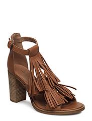 Sandal with fringes - CAMEL