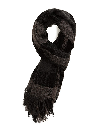 Checkered Boucle Scarf