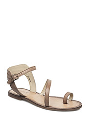 Flat leather sandal - TAUPE