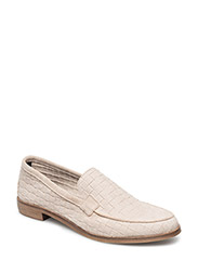 Suede embossment loafer - NUDE