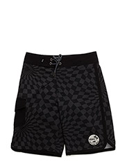 MIXED SCALLOP BOARDSHORT BOYS - BLACK/BLACK WARP CHECK