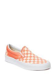 Classic Slip-On - (Checkerboard) fusion coral/white