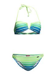 Bandeau Bikini - turquoise striped