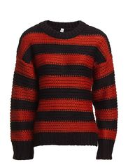WOOBS STRIPE LS KNIT - P12 - PICANTE