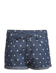 BRIX LW DOTTI DENIM MINI SHORTS - DENIM