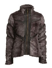 PARADISE FAKE FUR SHORT JACKET - Asphalt