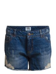 PAULA NW LACE SHORTS - GU023 PC7-14 IM - Medium Blue Denim