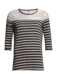 WP - CITA LACE STRIPE 3/4 TOP 6 - Black