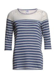 WP - CITA LACE STRIPE 3/4 TOP 6 - Black Iris