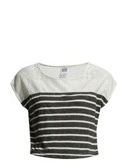 WP - CITA LACE STRIPE CROP S/S TOP 6 - Black