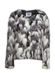 WING SHORT FAKE FUR JACKET - Black