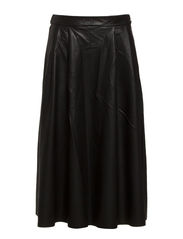 DAPPER BUTTER HW CALF PU SKIRT - Black