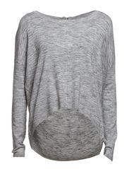 GLORY AURA LS ZIPPER BLOUSE - Light Grey Melange