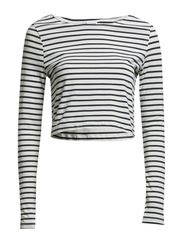 SACHI STRIPE CROP L/S TOP NFS - Snow White