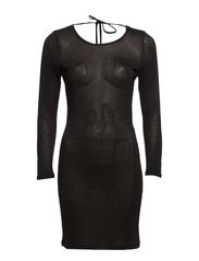 TYRA 7/8 MINI DRESS - Black with Black Shimmer