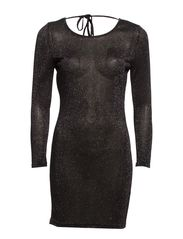 TYRA 7/8 MINI DRESS - Black with Silver Shimmer