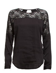 VMLUCY LACE L/S TOP GA IT - Black