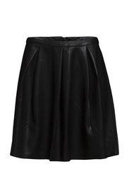 VMEVER BUTTER HW SHORT PU SKIRT - Black