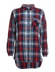 VMJESTER CHECK OVERSIZE L/S SHIRT - NFS - Snow White