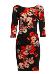 VMBLURED FLOWER 3/4 ABOVEKNEE DRESS FF37 - Black
