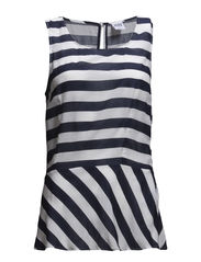 WP - VMSTRIPES SL PEPLUM TOP 3 - Black Iris