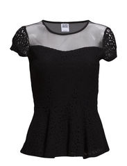 WP - VMLILLY LACE PEPLUM SS TOP 3 - Black