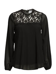 VMDAISY CROCHET L/S TOP - NFS - Black
