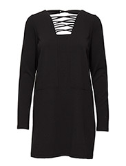 VMTULINE LS MINI DRESS V - BLACK