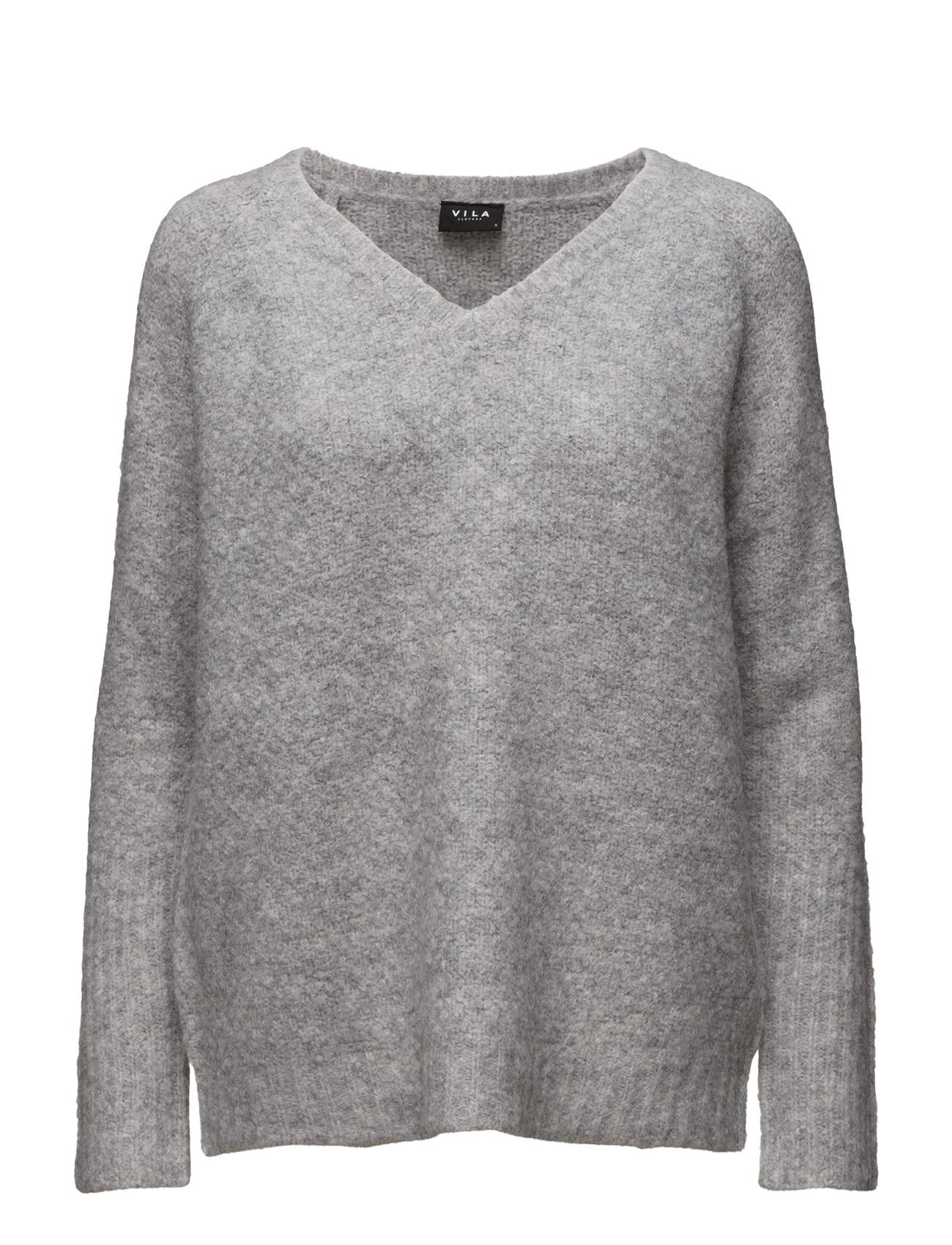 Viplace V-Neck Knit Top-Noos Vila Sweatshirts til Damer i Light Grey Melange