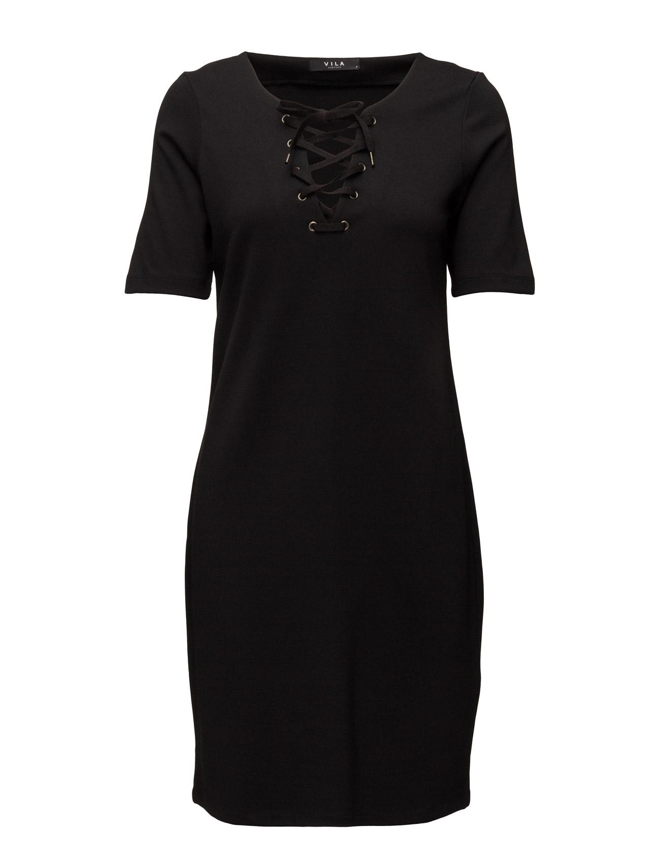 Viforce 1/2 Sleeve Slim Dress Vila Knælange & mellemlange til Kvinder i Sort