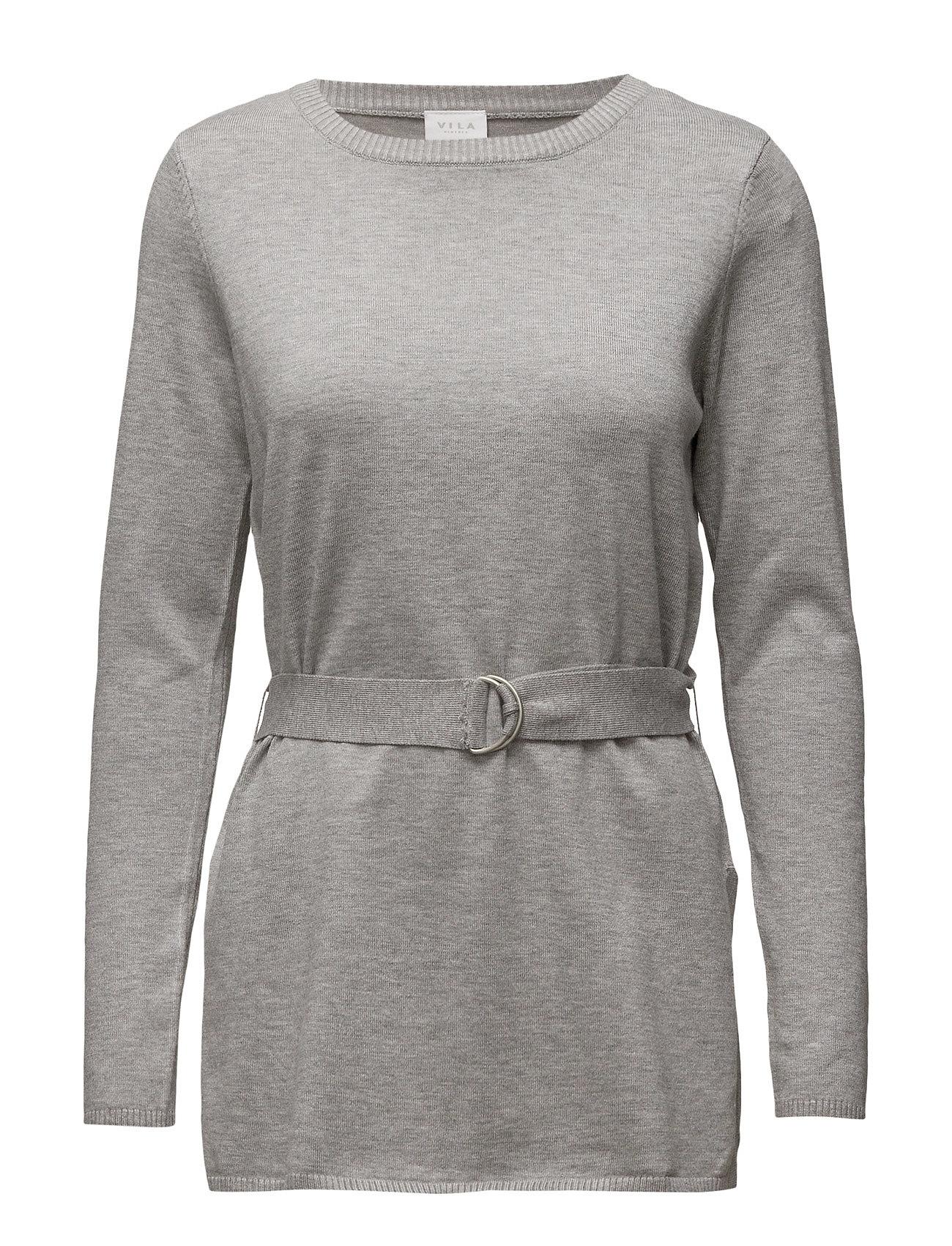 Vidate L/S Belted Knit Top Vila Sweatshirts til Kvinder i Light Grey Melange