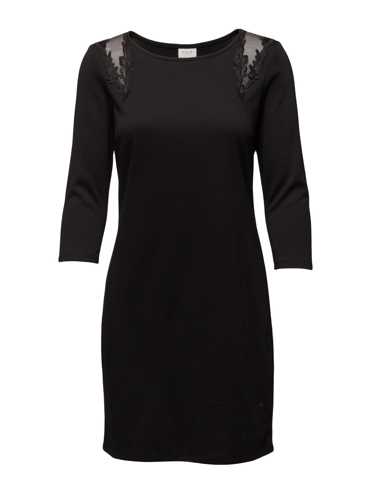Vitinny Shoulder Lace Dress Vila Korte kjoler til Kvinder i Medium Grey Melange