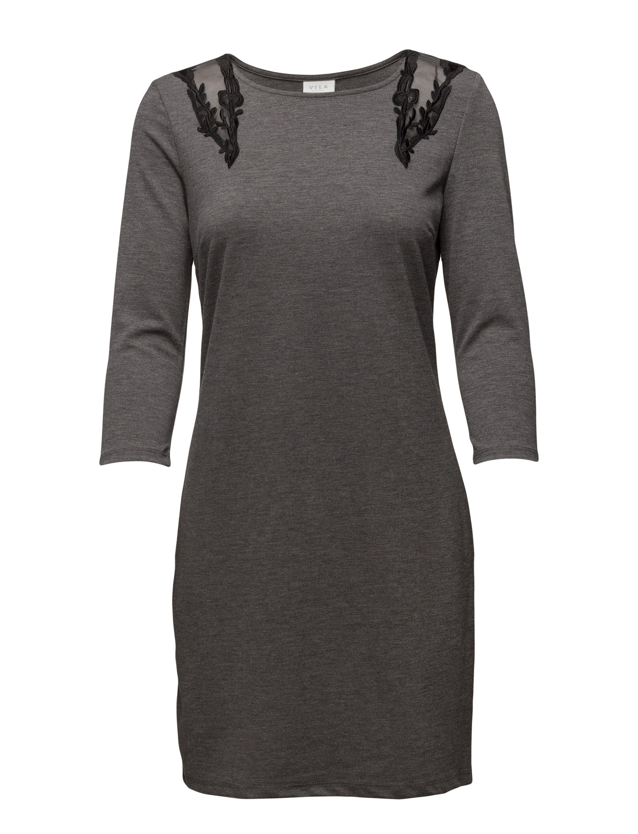 Vitinny Shoulder Lace Dress Vila Korte kjoler til Damer i Medium Grey Melange