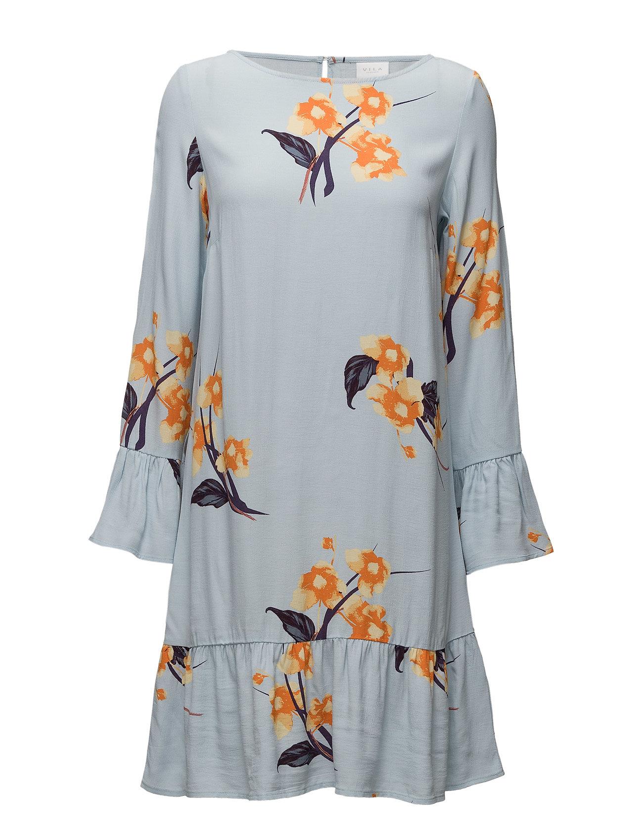 Vinalina L/S Ruffle Dress Vila Korte kjoler til Damer i Cashmere Blå