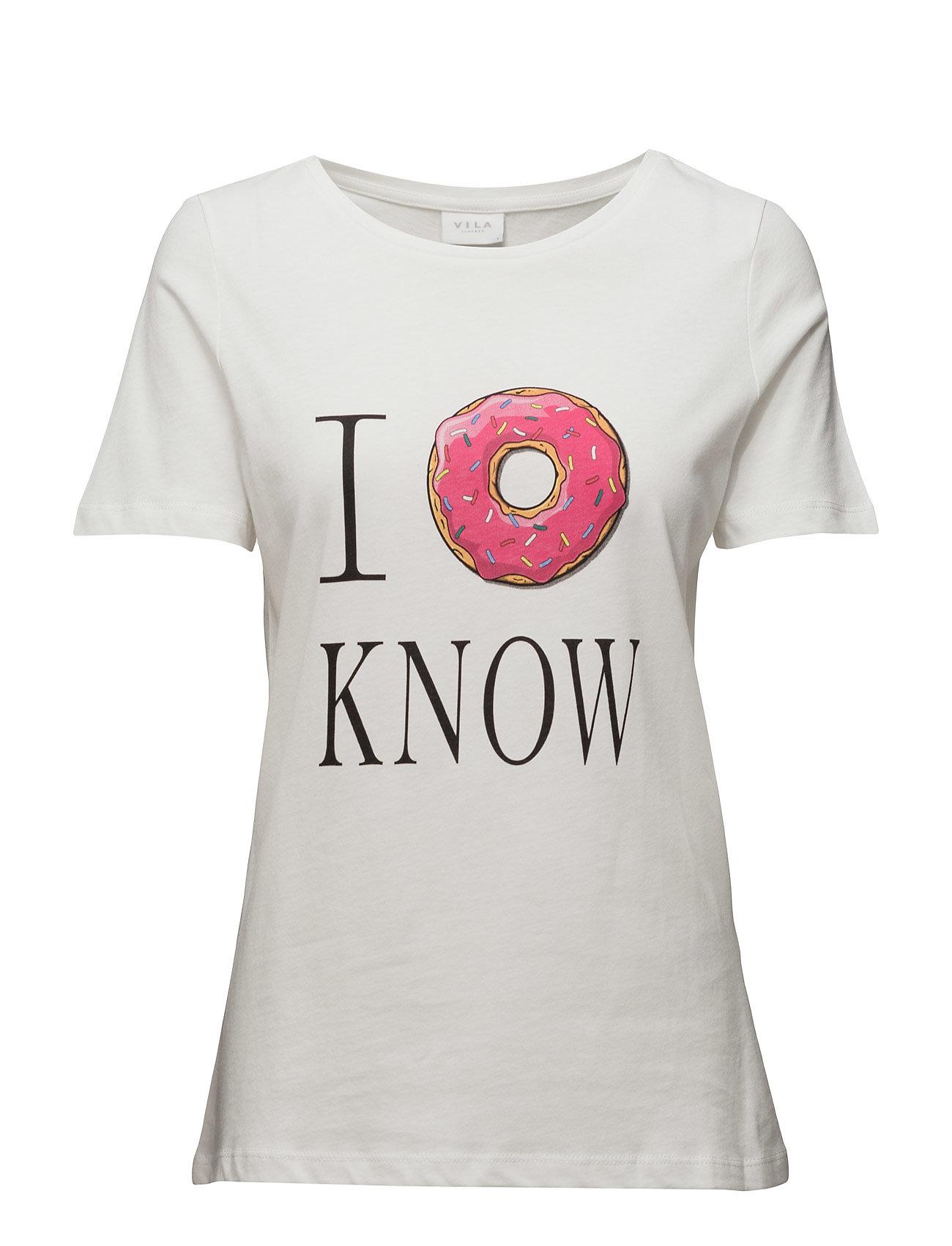 Vilovina New T-Shirt Vila Kortærmede til Damer i Sne hvid