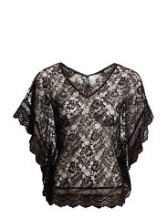 NICE LACE V-NECK TOP - BLACK